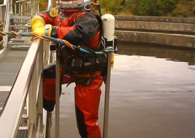 commercial diver sewage plant