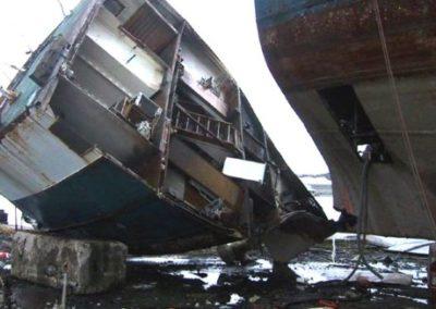 Flame cutting shipwreck